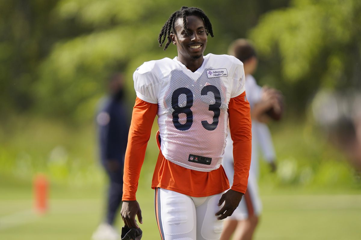 Bears wide receiver Javon Wims walks the field during training camp last week.