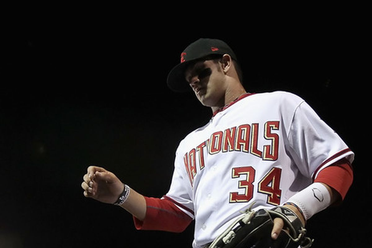 Washington Nationals' outfield prospect Bryce Harper #34  was in the lineup for the Scottsdale Scorpions Friday night when they took on the Phoenix Desert Dogs. (Photo by Christian Petersen/Getty Images)