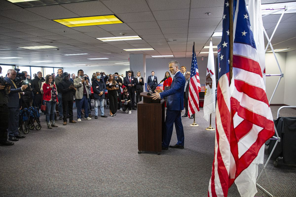 Republican Gary Rabine speaks to supporters at Rabine Group offices in Schaumburg on Tuesday.