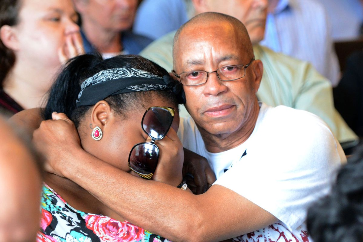 Odin Lloyd's family reacts in court on Wednesday.