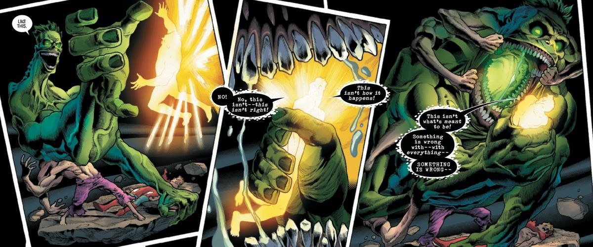 The Hulk/Bruce Banner captures and eats a multiversal entity at the end of the universe in The Immortal Hulk #24, Marvel Comics (2019).