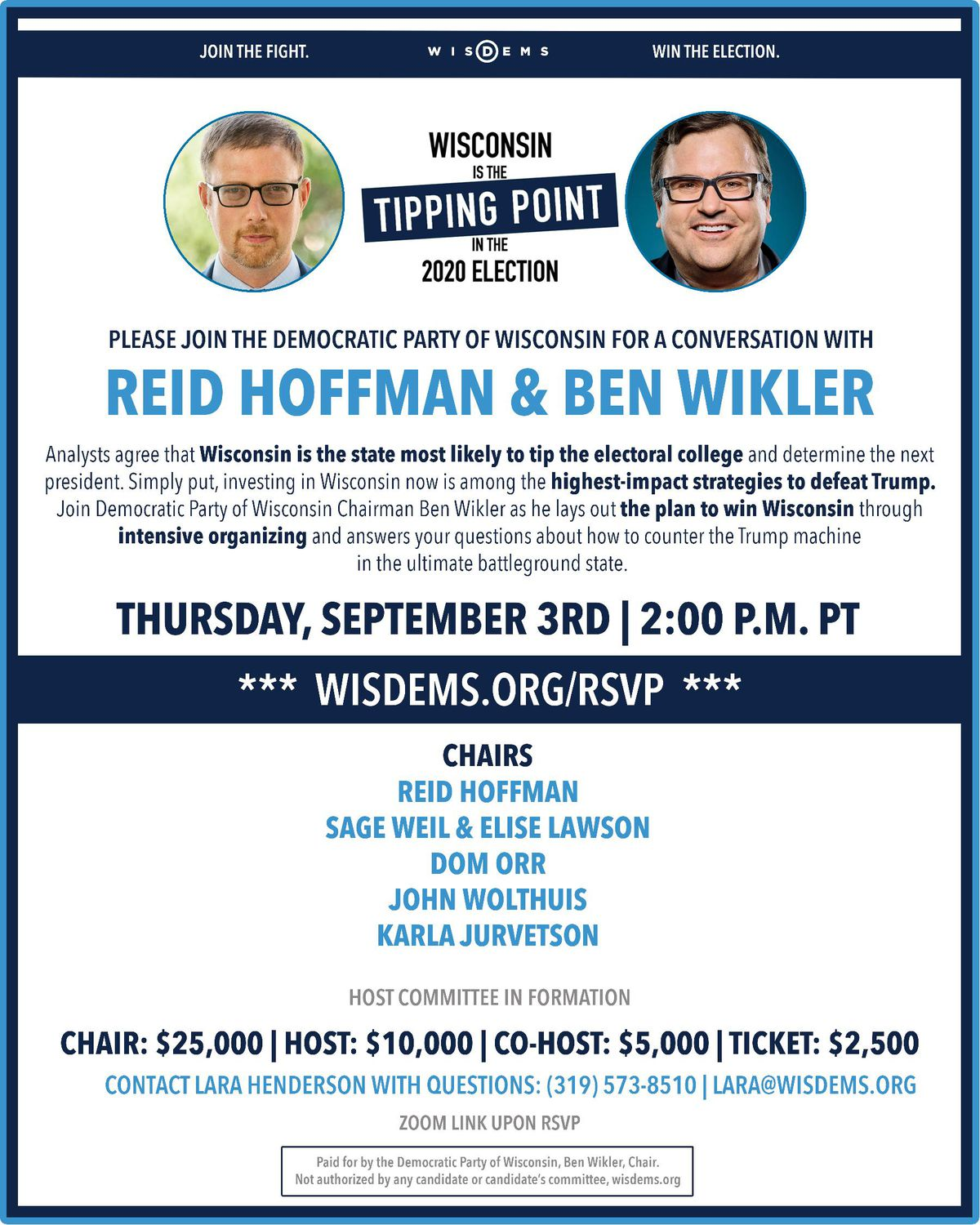 Fundraiser invitation for the Wisconsin Democratic Party featuring Reid Hoffman's name.