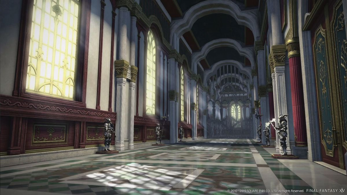 A screencap of the Grand Cosmos dungeon resembles the inside of a fancy castle, with suits of armor and regal directions everywhere.