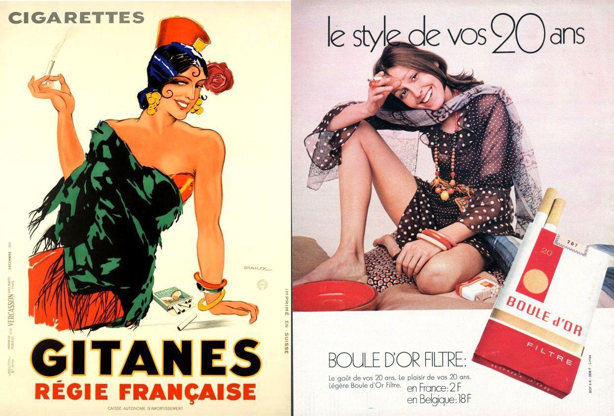 cigarette ads side by side