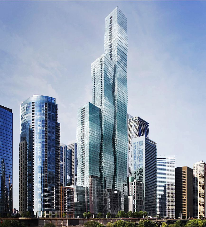 Rendering of Magellan Development Group and Beijing-based Wanda Group's 95-story Vista Tower, designed by Chicago Architect Jeanne Gang. Mayor Rahm Emanuel held a news conference Monday to tout the approaching start of construction on the project, which w
