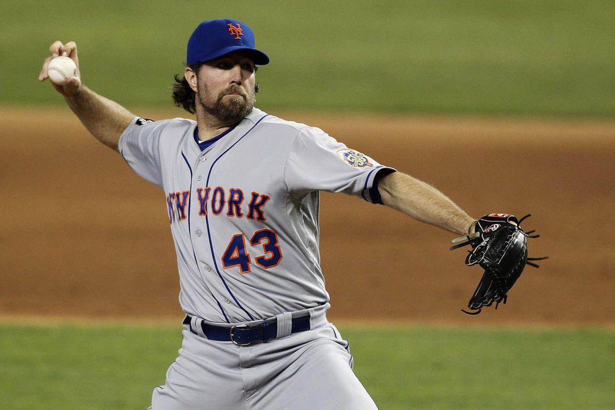 May 12, 2012; Miami, FL, USA: New York Mets starting pitcher R.A. Dickey (43) throws against the Miami Marlins at Marlins Park. Robert Mayer-US PRESSWIRE