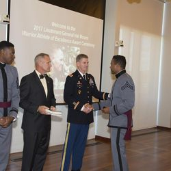 """Right, West Point cadet Raaqim Rispress, a returned Mormon missionary, was recently honored with the Lt. Gen Harold """"Hal"""" G. Moore Warrior Athlete of Excellence Award."""