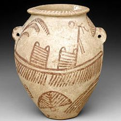 """""""Ovoid jar with painted boat,"""" 3700-3250 B.C. (ceramic marl, 6 1/2 by 5 1/8 inches), Egypt."""