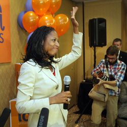 Republican 4th Congressional District candidate Mia Love concedes the race and  talks with supporters at the Hilton  in Salt Lake City  Wednesday, Nov. 7, 2012.