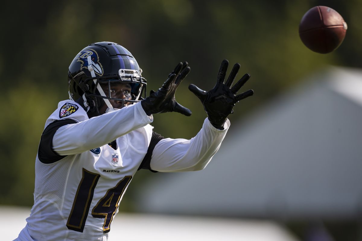 Sammy Watkins #14 of the Baltimore Ravens catches a pass during training camp at Under Armour Performance Center Baltimore Ravens on July 28, 2021 in Owings Mills, Maryland.