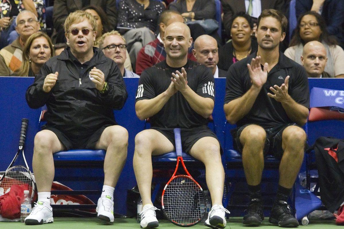 Elton John - Andre Agassi and Jan Michael Gambill at the WTT Smash Hits at American University.