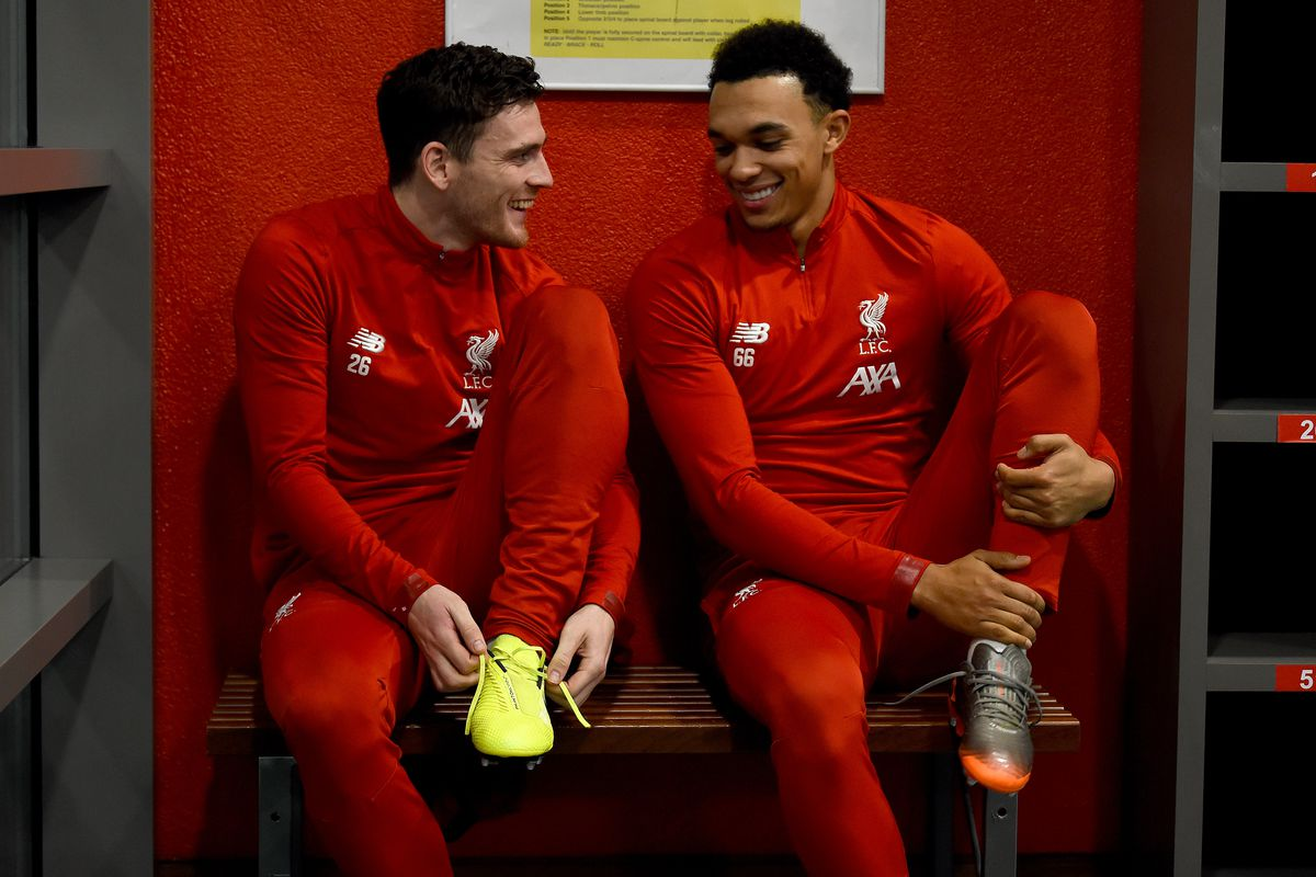 Trent Alexander-Arnold and Andy Robertson - Liverpool Training Session - Premier League