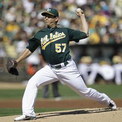 Oakland Athletics' Tommy Milone works against the Seattle Mariners in the first inning of a baseball game Sunday, Sept. 30, 2012, in Oakland, Calif.