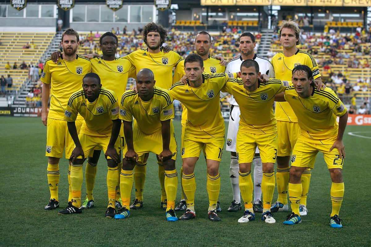 COLUMBUS, OH - JULY 23:  The Columbus Crew starting 11 pose for a team portrait prior to the start of their game against the Portland Timbers at Crew Stadium on July 23, 2011 in Columbus, Ohio.  (Photo by Kirk Irwin/Getty Images)