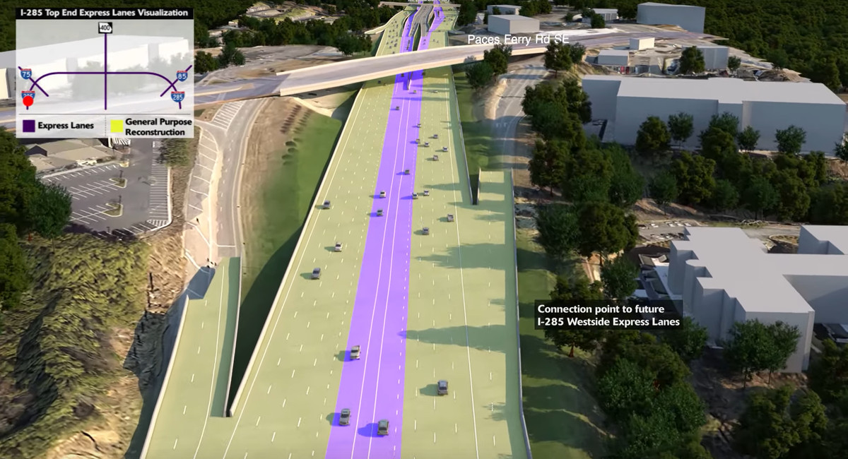 A rendering shows the new express lanes at the center of the Perimeter, which will have to be reconstructed in parts.