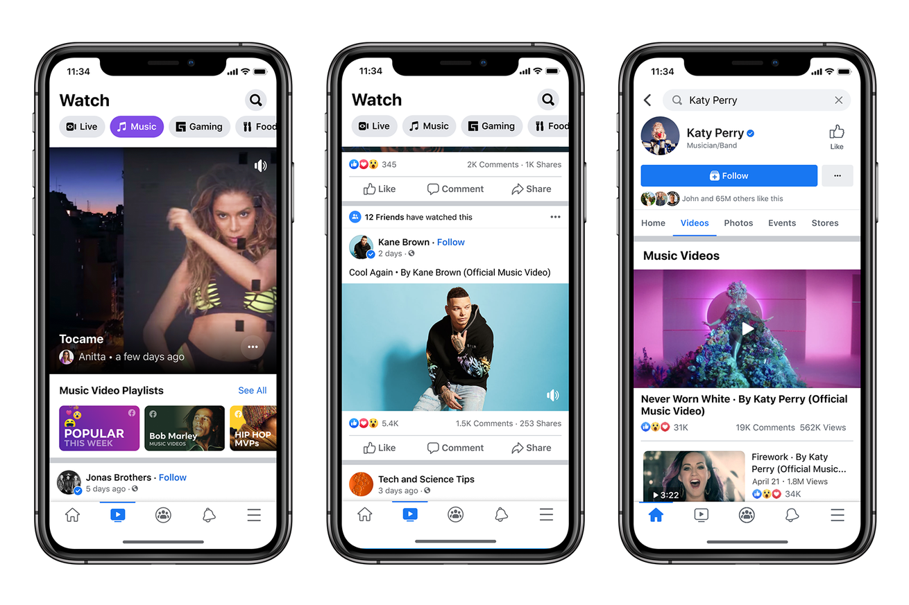 Facebook adds official music videos in new challenge to YouTube