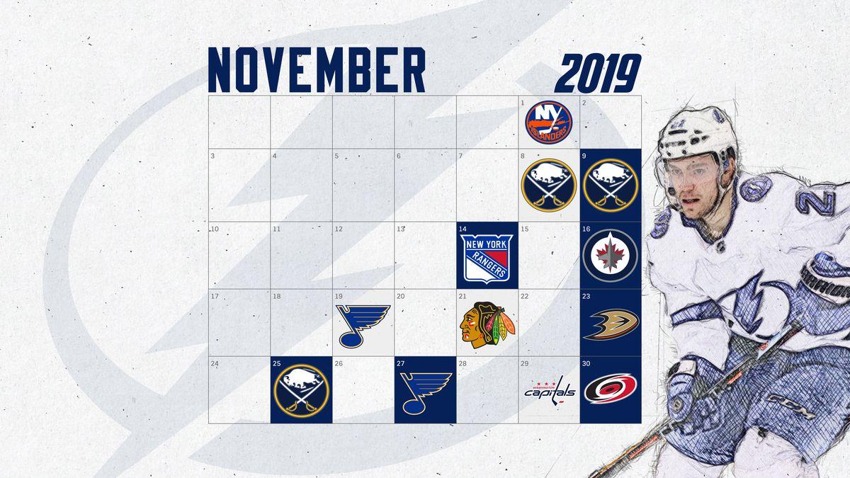 Tampa Bay Lightning November 2019 Wallpaper Schedule Raw Charge