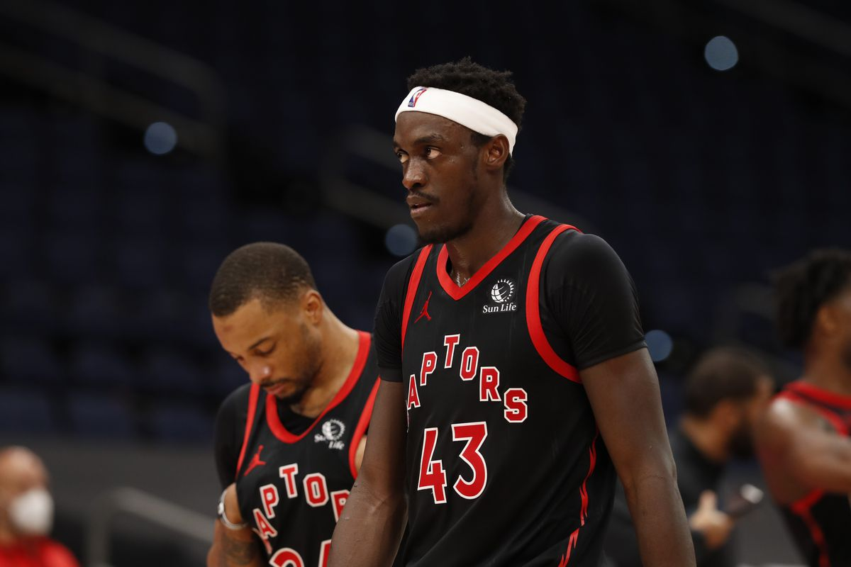 Pascal Siakam of the Toronto Raptors looks on during the game against the Philadelphia 76ers on February 23, 2021 at Amalie Arena in Tampa, Florida.