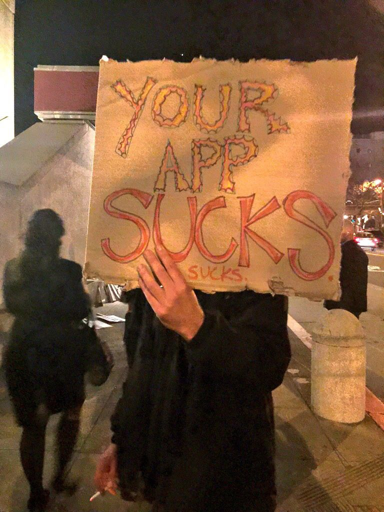 Protestors outside the Crunchies