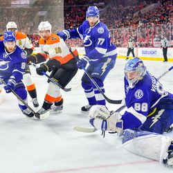 Andrei Vasilevskiy makes a crucial save during the third period.
