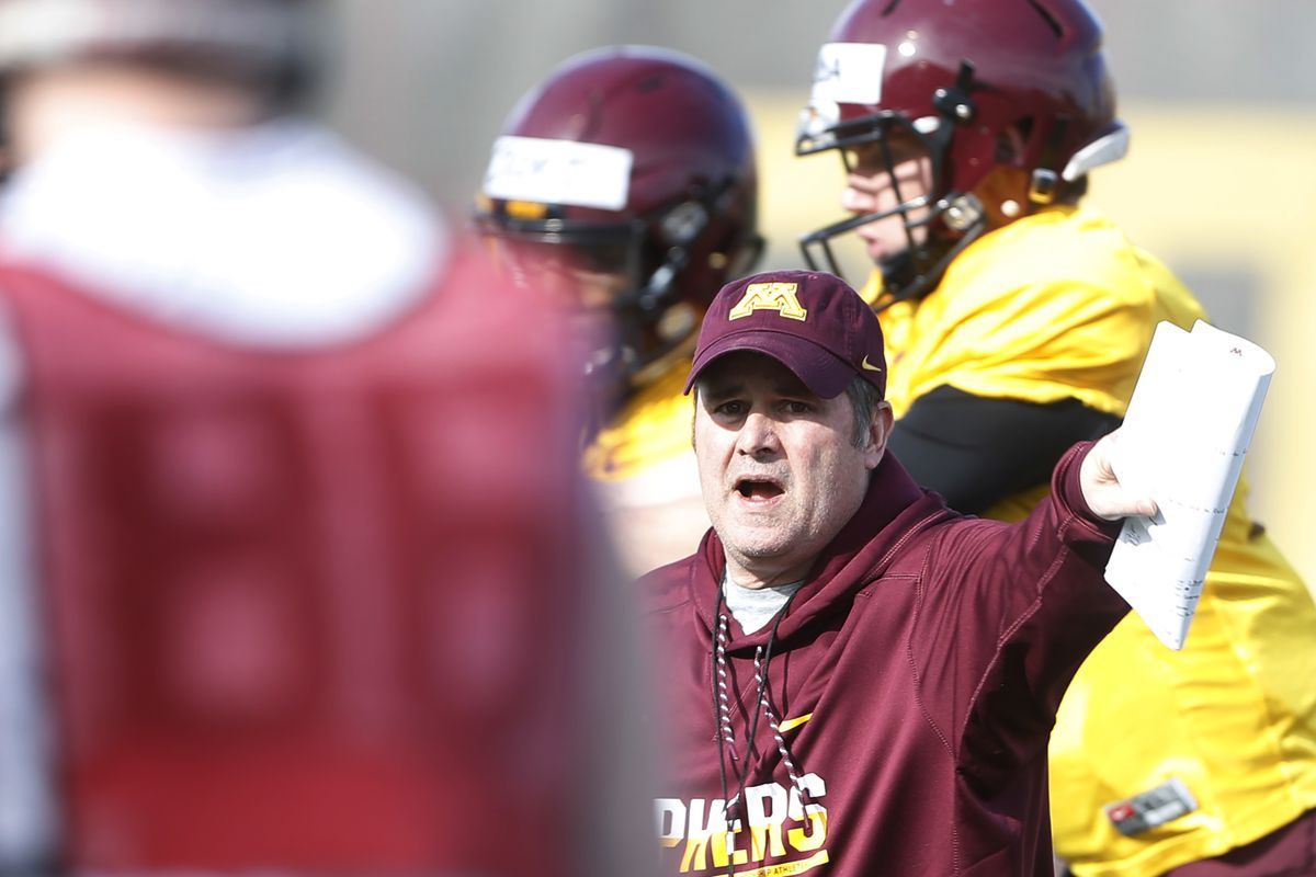 Gophers offensive coordinator Kirk Ciarrocca during football practice at the University of MinnesotaTuesday March 28 2017 in Minneapolis, MN.] JERRY HOLT • jerry.holt@startribune.com