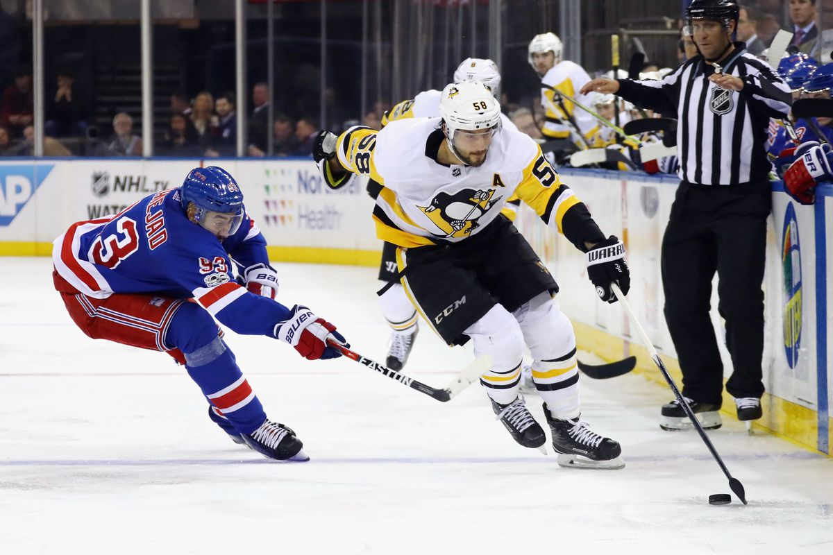 NEW YORK, NY - OCTOBER 17: Kris Letang #58 of the Pittsburgh Penguins skates against the New York Rangers at Madison Square Garden on October 17, 2017 in New York City. The Penguins defeated the Rangers 5-4 in overtime.  (Photo by Bruce Bennett/Getty Images)
