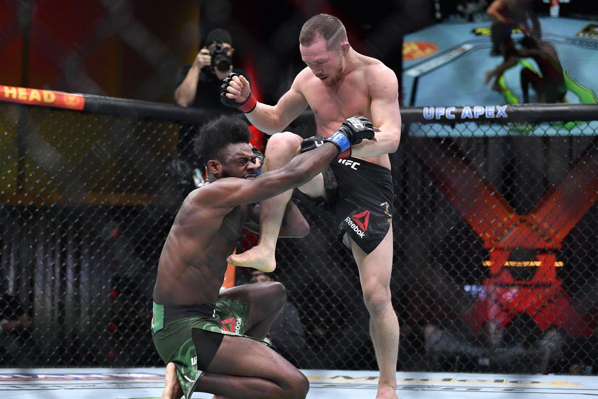 Aljamain Sterling Petr Yan following DQ win at UFC 259