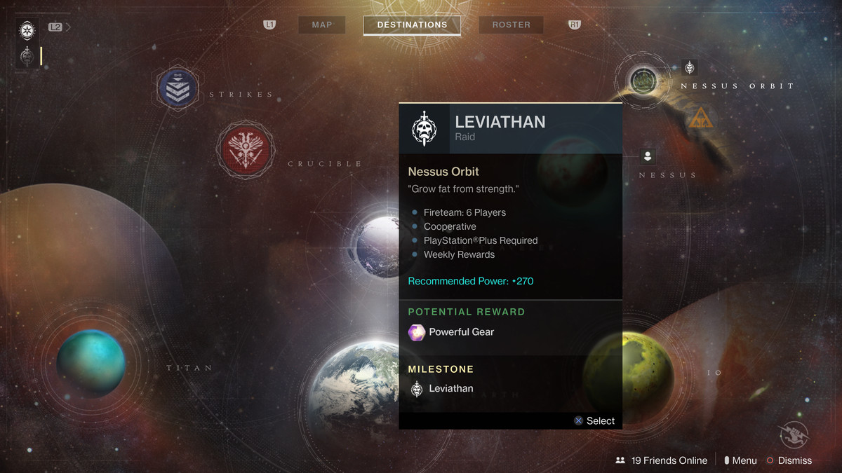 Destiny 2 - director with Leviathan raid selected