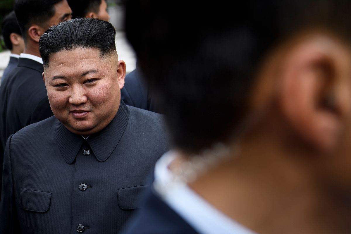 North Korea's leader Kim Jong Un walks to a meeting with President Donald Trump on June 30, 2019, in Panmunjom, Korea.