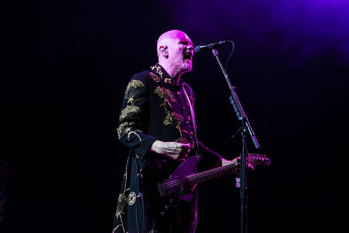 Billy Corgan performs on Friday night at Riot Fest in Douglass Park.