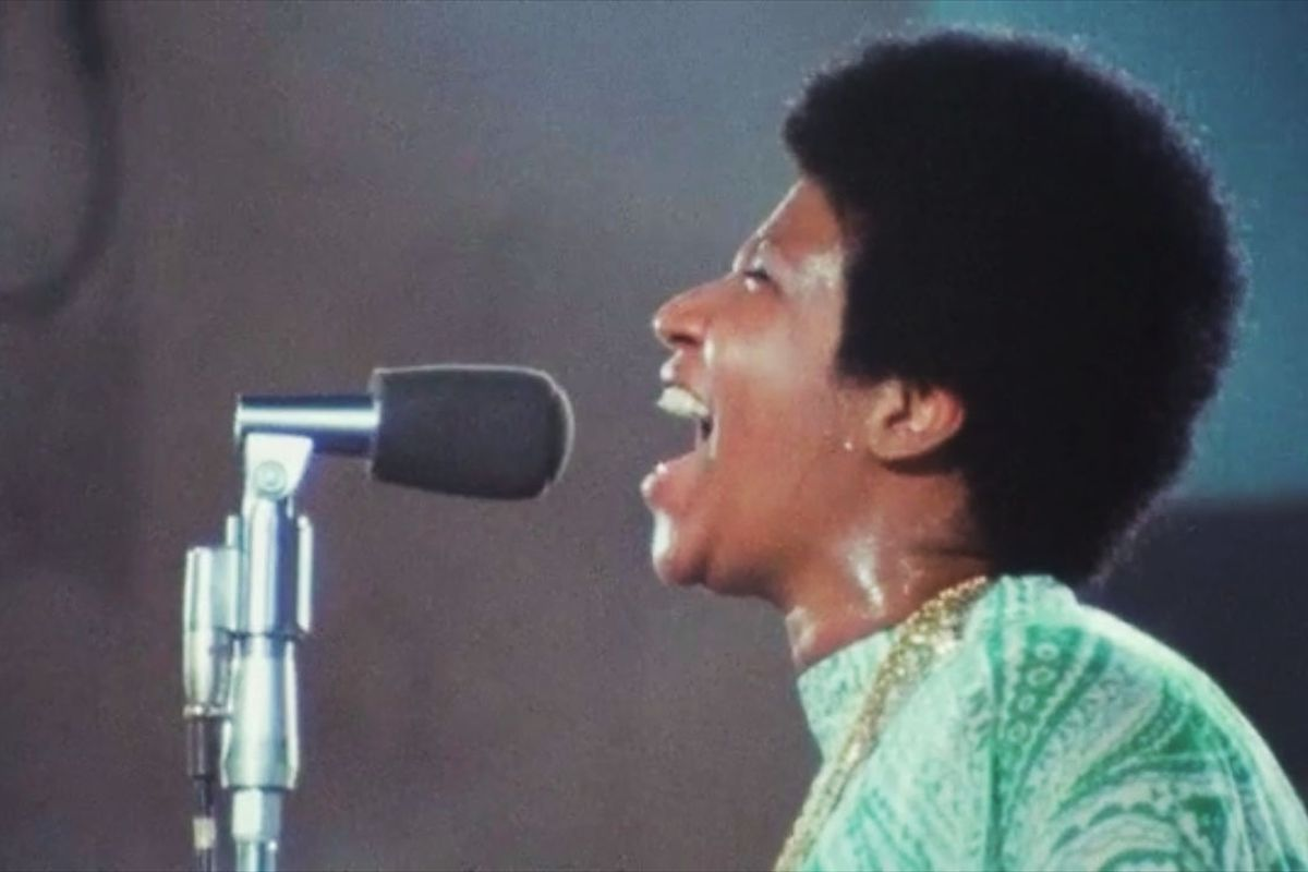 Footage of Aretha Franklin from the trailer for the film Amazing Grace.