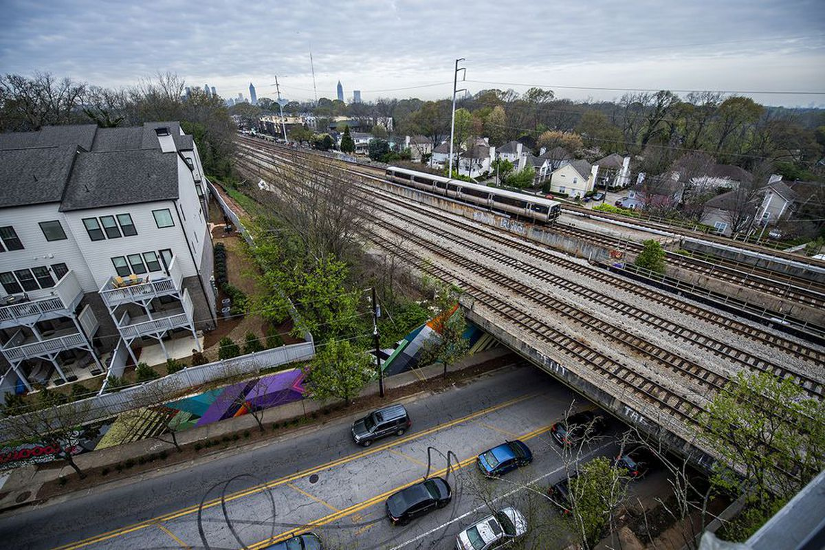 The Sky Deck view at MARTA's Spoke development in Edgewood, overlooking Whitefoord Avenue, DeKalb Avenue, and the train tracks.