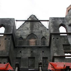 Ruins of Provo Tabernacle after fire of Dec. 17, 2010, that destroyed the historic structure that had been in use since 1898.