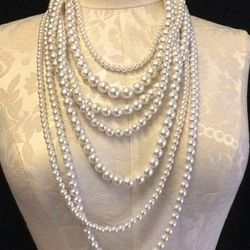 1980s multistrand pearl necklace, $38