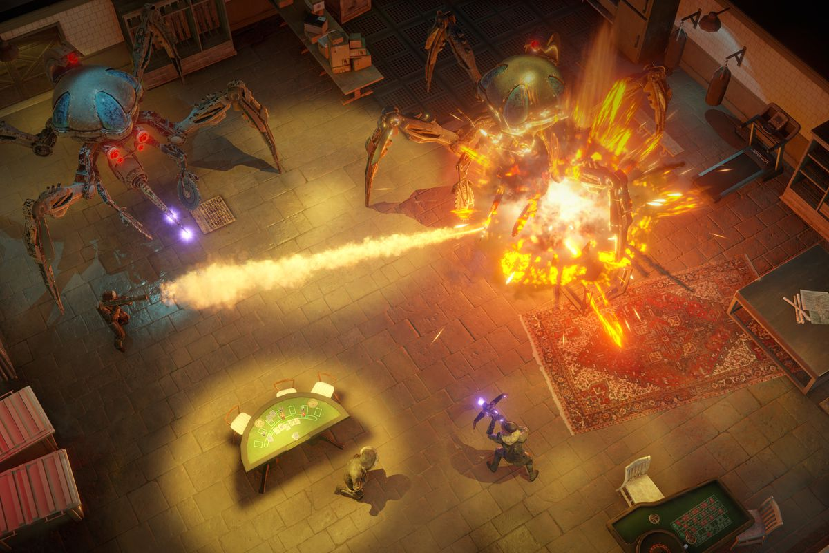 Wasteland 3 - a squad of Rangers attack two giant spider-robots