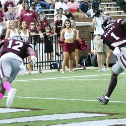 Mississippi State defensive back Brandon Bryant (1) intercepts a pass during the second half of an NCAA college football game against Brigham Young in Starkville, Miss., Saturday, Oct. 14, 2017.