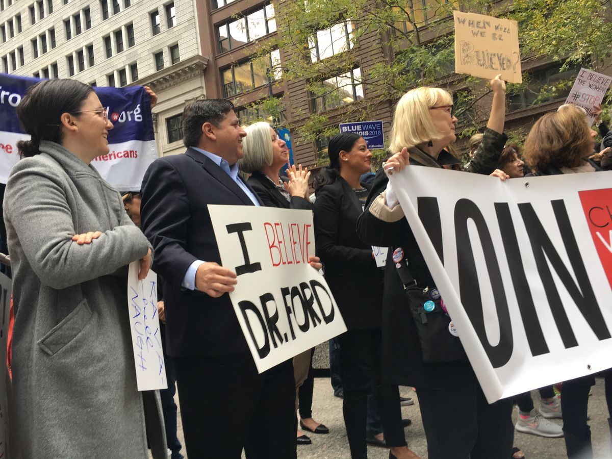 J.B. Pritzker, City Clerk Anna Valencia and others at a rally at Federal Plaza opposing Brett Kavanaugh's nomination to the Supreme Court.   Adam Thorp/Sun-Times