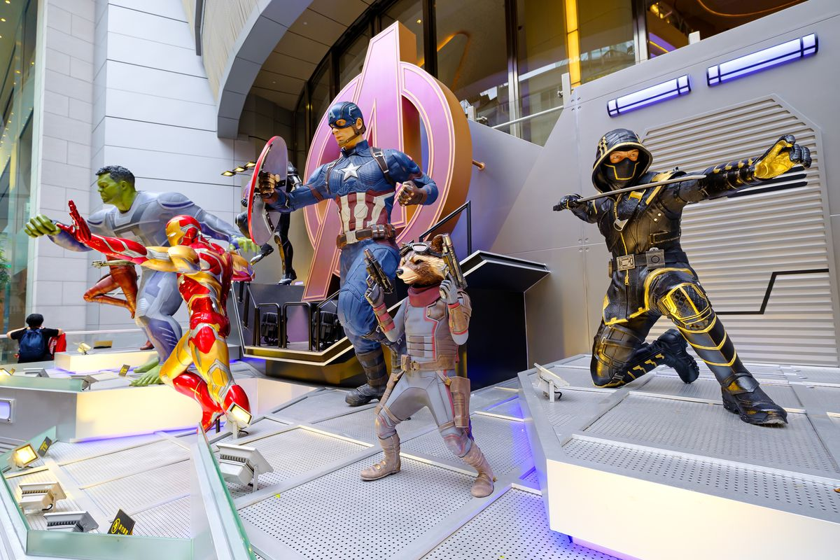 """Iron man, Rocket Raccoon, Hulk, Hawkeye and Captain America are fictional characters seen appearing in American comic books published by Marvel Comics. Avengers 4: Endgame"""" character model features 1:1 life-size statues in Hong Kong, as part of promotional activity before the movie release."""
