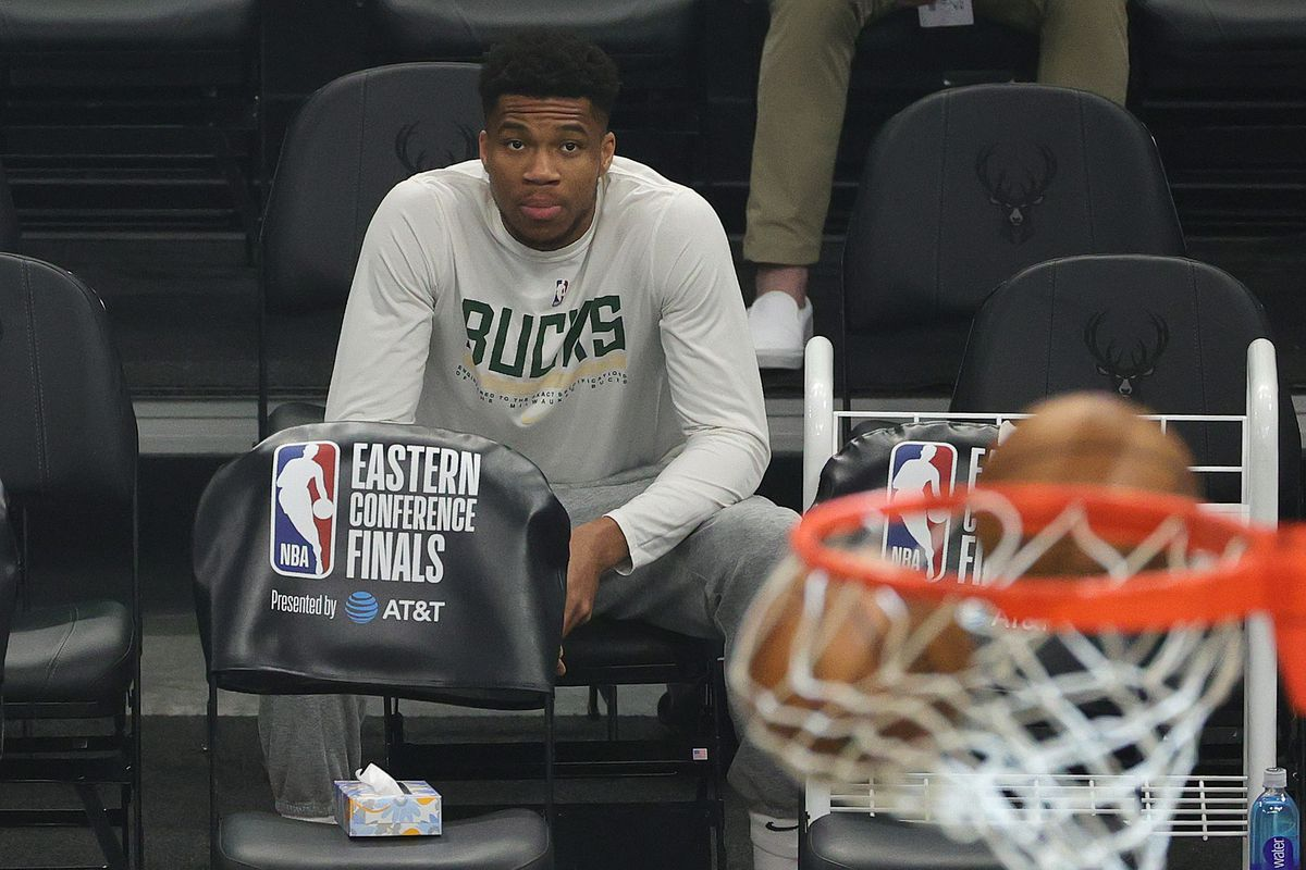 Giannis Antetokounmpo #34 of the Milwaukee Bucks looks on before Game Five of the Eastern Conference Finals against the Atlanta Hawks at Fiserv Forum on July 01, 2021 in Milwaukee, Wisconsin.