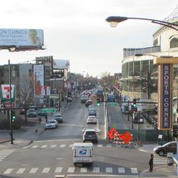 Looking west down Addison, showing reduced lanes, taken from the Red Line elevated platform -