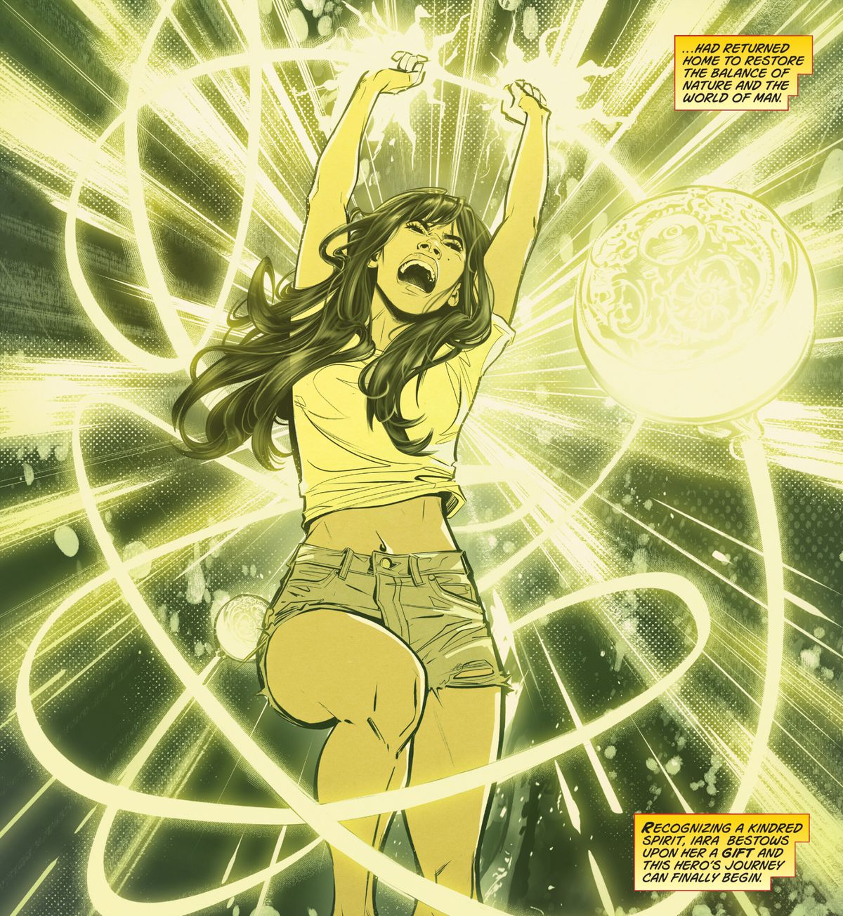 Yara Flor is transfixed by divine energy when she grasps the golden boladora and is embodied with the power of Wonder Girl in Wonder Girl #2 (2021).