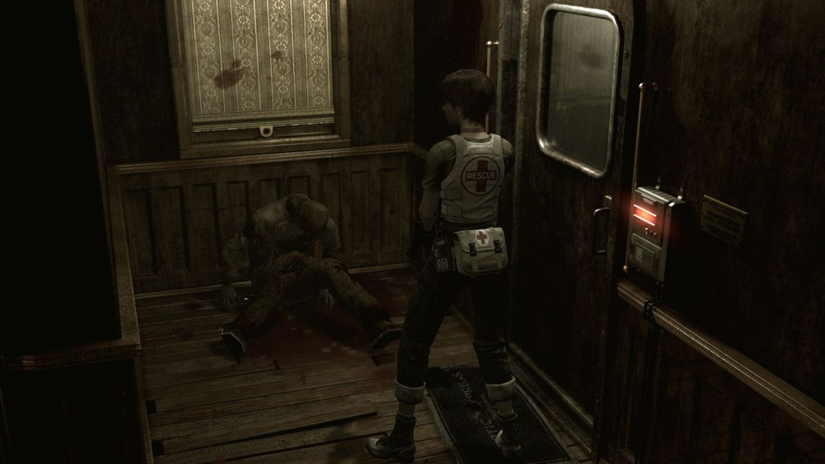 Rebecca Chambers stares at Resident Evil Zero corpse