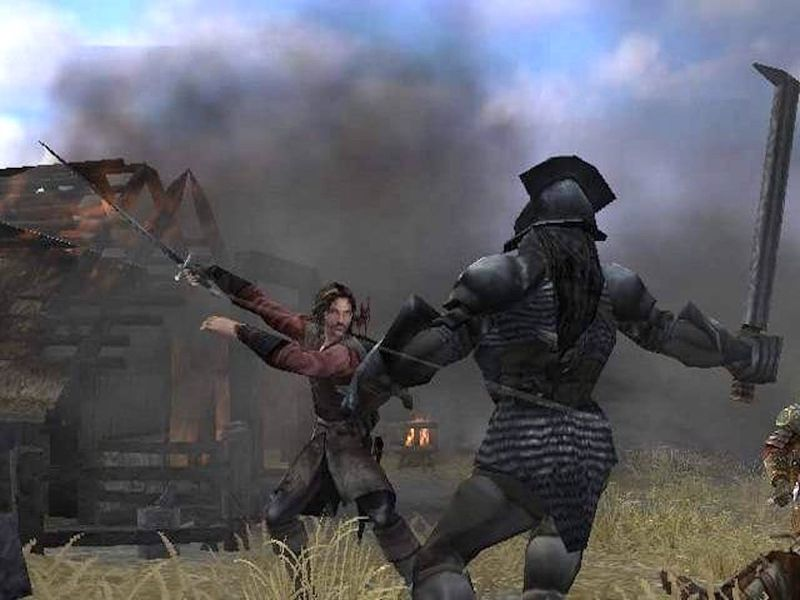 Aragorn swiping at an orc in the PS2 Two Towers game
