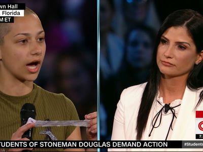 Stoneman Douglas High senior Emma Gonzalez asks NRA spokesperson Dana Loesch a question at a CNN town hall.