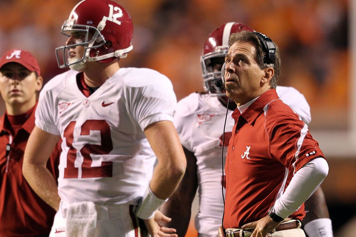 """""""Um, bro, that's a weird way to put your hands on your hips."""" - Saban, probably."""