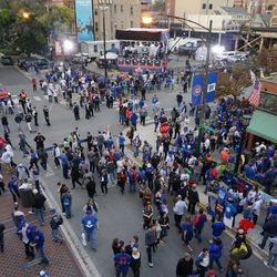 The scene outside of the bleacher gate, before the game
