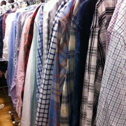 The narrow men's shirting aisle. Close quarters in there.
