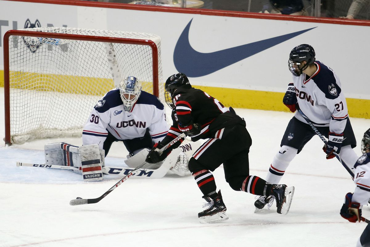 UConn's Adam Huska (30) during the Northeastern Huskies vs UConn Huskies men's college ice hockey game game at the XL Center in Hartford, CT  on November 28, 2017.