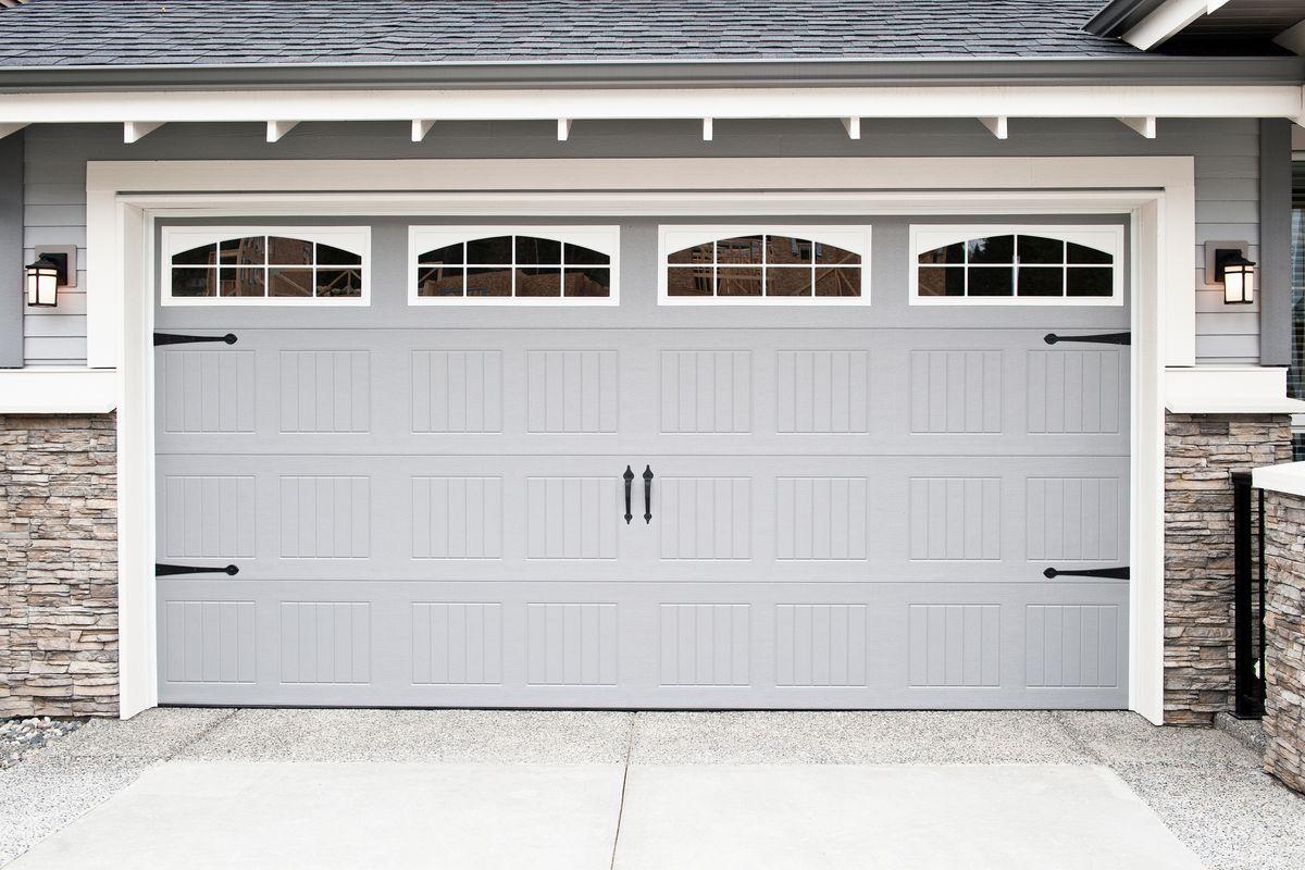 Wide garage door.