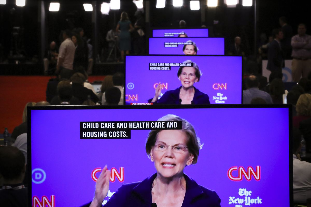 Sen. Elizabeth Warren (D-MA) appear on television screens.